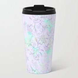 Modern lavender turquoise hand drawn watercolor botanical floral Travel Mug