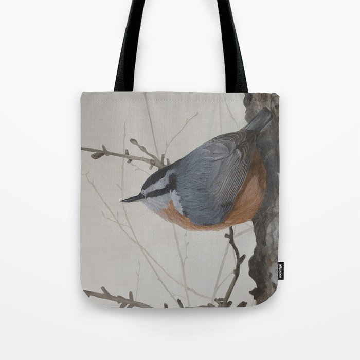 Red-breasted Nuthatch at Yellowknife River Tote Bag by ShawnaLampiLegaree - 13