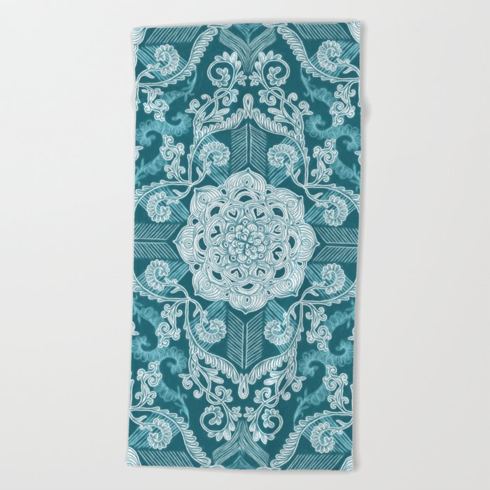 Centered Lace - Teal  Beach Towel