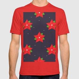 Poinsettia Christmas Pattern T-shirt