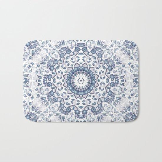 Grayish Blue White Flowers Mandala Bath Mat
