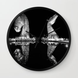 Mythological Kelpies, Horse Sculptures, The Helix, Scotland black and white photograph, 2019 Wall Clock