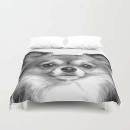 Black and White Chihuahua Duvet Cover