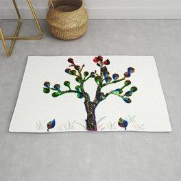 Bare Leafy Rainbow Tree Rug