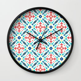 Geometric Origami Paper, Red Yellow and Blue Wall Clock