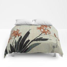 Hokusai, red orchid -manga, japan,hokusai,japanese,北斎,ミュージシャン Comforters