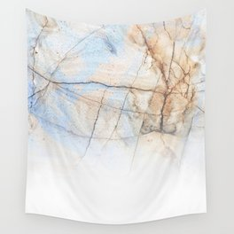 Cotton Latte Marble - Ombre blue and ivory Wall Tapestry