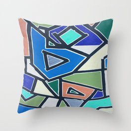 shapes of blue Throw Pillow