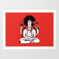 shiva Art Prints featuring Shiva by Tshirtbaba