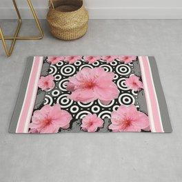 "Grey ""Art Deco"" Cherry Blossom Pattern Art Rug"