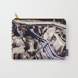 Car Motor Silver and Purple Carry-All Pouch