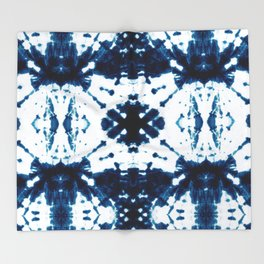 Velvet Shibori Blue Throw Blanket