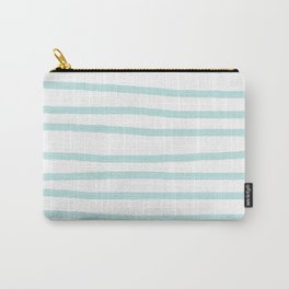 Simply Drawn Stripes Succulent Blue on White Carry-All Pouch