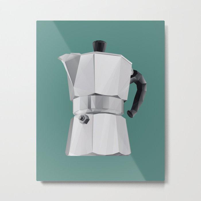Coffee Moka Pot polygon art Metal Print