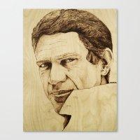 steve mcqueen Canvas Prints featuring Steve McQueen by Farinaz K.
