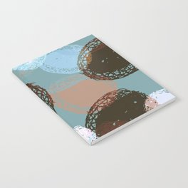 Graphic Seed Pods Turquoise and Brown Notebook