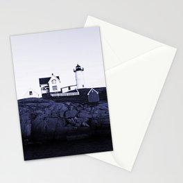 Navy Blue Maine Lighthouse Stationery Cards
