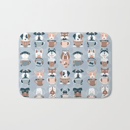 Doggie Coffee and Tea Time I // blue grey Bath Mat