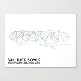 Vail, CO - Back Bowls - Minimalist Trail Art Canvas Print