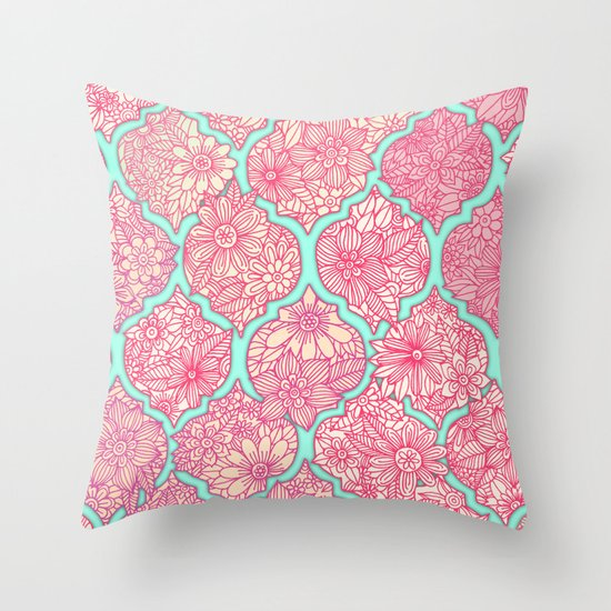 Throw Pillow Arrangement : Moroccan Floral Lattice Arrangement in Pinks Throw Pillow by Micklyn Society6