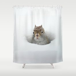 Pop-up Squirrel in the Snow Shower Curtain