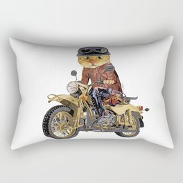 Cat riding motorcycle Rectangular Pillow