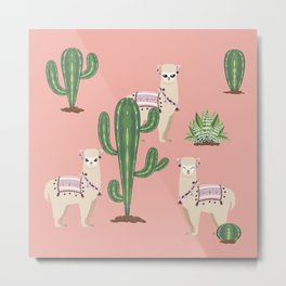 Alpaca with Cacti Metal Print