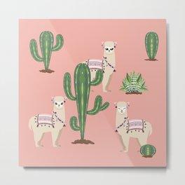 Alpaca with Cacti Metal Print