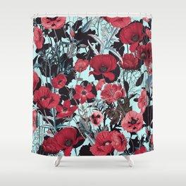 Poppy Floral Pattern Shower Curtain