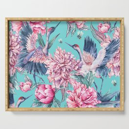 Teal peonies and birds Serving Tray