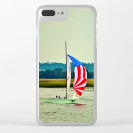 US Flag Sailboat Clear iPhone Case