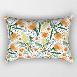 Australian Native Floral Pattern - Grevillea and Pincushion Flowers Rectangular Pillow