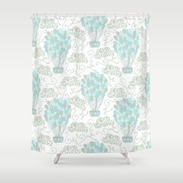 Vintage hot air balloons line drawing pastel turquoise blue Shower Curtain