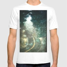 Forest Wanderlust - Adventure Road Trip in Magical Green Lights Mens Fitted Tee White MEDIUM