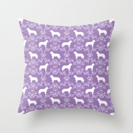 Australian Cattle Dog minimal floral silhouette pattern lavender and white dog art Throw Pillow