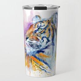 Young Tiger Watercolor Portrait Travel Mug