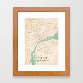 Detroit, United States - Vintage Map Framed Art Print