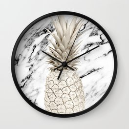 Pineapple Marble White Gold Painted Pineapple on Black and White Marble Wall Clock