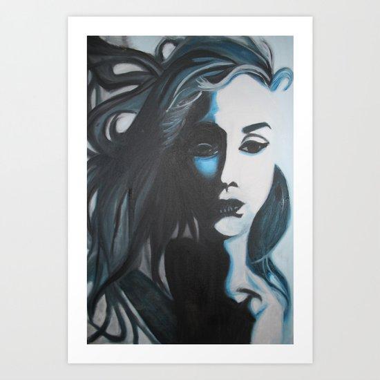 Women In Blue Art Print