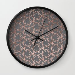 Modern abstract floral pattern rose gold on grey graphite cement concrete Wall Clock