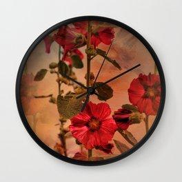 Mid-Summer Hollyhocks Wall Clock