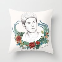 niall Throw Pillows featuring Niall  by Coconut Wishes