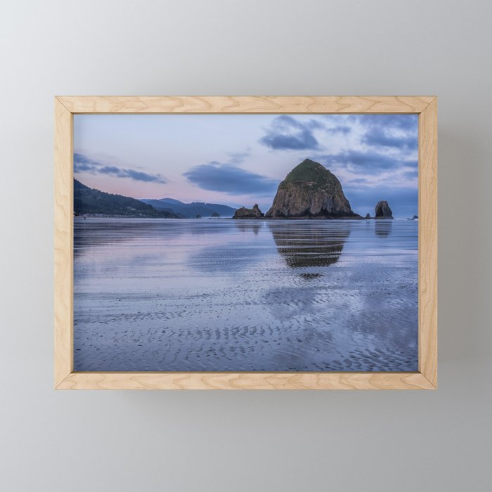 Daybreak at Haystack Rock Framed Mini Art Print
