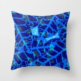 Blue Palm Shadows Throw Pillow