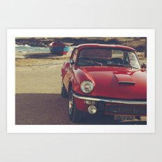Fine art print, classic car, red, triumph, beach, italy, interior design, old car, still life, decor Art Print