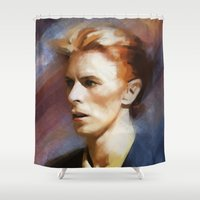 bowie Shower Curtains featuring Bowie by Cristina Sandia