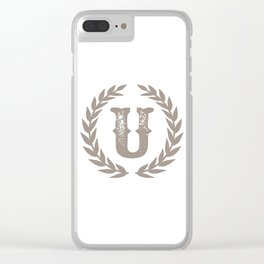 Beige Monogram: Letter U Clear iPhone Case