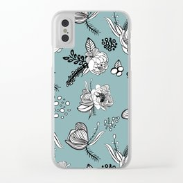 Misty Turquoise Line Art Clear iPhone Case