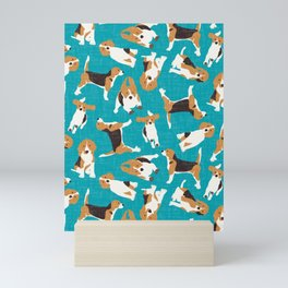 beagle scatter blue Mini Art Print