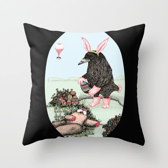 Crow Serie :: Easter Crow Throw Pillow
